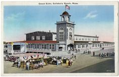 This Is A Beautiful Vintage White Border Postcard Of The Ocean Echo Palace Hotel At Salisbury Beach In Machusetts Condition Good To Fair