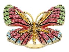 Off Park Collection (Tm) Multicolor Crystal Gold Tone Butterfly Statement Ring