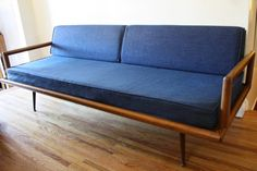 Mid century modern tufted sofa couch in a cheerful sunflower tweed ...