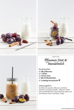 de Rezept, Smoothie Pflaumen Zimt Kachel The Effective Pictures We Offer You About burn Avocado Smoothie, Recipe Smoothie, Smoothie Detox, Smoothie Bowl, Detox Juice Recipes, Juicer Recipes, Weight Loss Drinks, Weight Loss Smoothies, Cinnamon Almonds