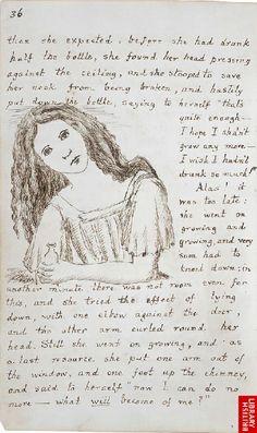 """Aunque no parece que Lewis Carroll fuera un gran dibujante, resulta curioso ver su manuscrito de """"Alicia"""" con su propia letra e ilustraciones en blanco y negro. Está en la British Library."""