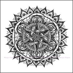 Mandala Print proprietary graphics drawn with the pen. High quality 180gr paper format with the luminaire 50x50 Signed
