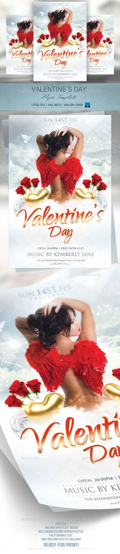 Valentines Day Flyer Template v2 — Photoshop PSD #holiday #valentine • Available here → https://graphicriver.net/item/valentines-day-flyer-template-v2/9997716?ref=pxcr