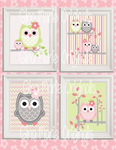 Printable Nursery Wall Art Pink Green Grey by GinaMarieOriginals