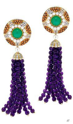 Amethyst Mandarin Garnet Tassel Earrings, ❥HT