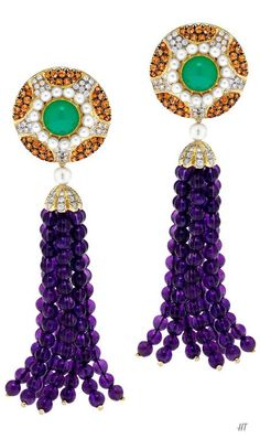 Amethyst Mandarin Garnet Tassel Earrings