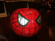 Next time I'll use craft pumpkins so I'll have it permanently Spider-man painted pumpkin. Next time I'll use craft pumpkins so I'll have it permanently Pumpkin Art, Pumpkin Crafts, Pumpkin Carving, Pumpkin Painting, Pumpkin Ideas, Spider Pumpkin, Pumpkin Faces, Halloween Pumpkins, Halloween Crafts