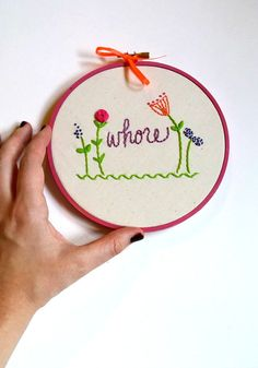 Whore funny embroidery hoop art Sassy cross stitch by Stitcherinny