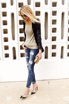 black sequin blazer, metallic gold sweater, distressed denim jeans, black valentino rockstud heels, gold snake clutch, prada sunglasses #fashionjackson