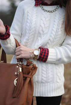 Cable knit sweater, arm candy tejido мода, свитер y вязаные Fall Winter Outfits, Winter Wear, Autumn Winter Fashion, Fall Fashion, Womens Fashion, Cute Flannel Outfits, Sweater Outfits, Flannel Shirt Outfit, Skinny