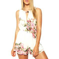 Espalda abierta de la gasa floral mameluco playsuits mono verano de las mujeres 2017 ropa de verano lindo vestidos feminino guardapolvos femeninos t55