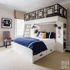 If you're looking for versatile bedroom ideas for a 10-year-old boy, this room is for you. It features two beds: a bunk on top for when your child is small and a queen-size below for when he grows. Ample built-in storage and a neutral color scheme ensure the space doesn't become too kiddish as the boy ages.