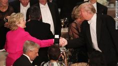 Donald Trump abandoned decades of tradition Thursday night with a tough takedown of Hillary Clinton at an annual charity dinner that prompted booing of the Republican presidential nominee.  Clinton's remarks, too, largely lacked the self-deprecating humor that is typical at the Al Smith dinner, which benefits Catholic charities and is often one of the final opportunities for presidential candidates to share a stage before the election.