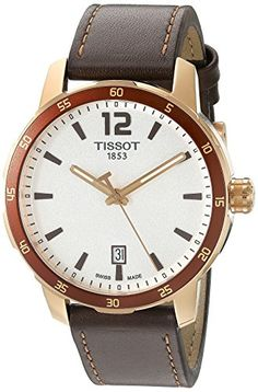 Tissot Men's 'Quickster' Swiss Quartz Stainless Steel and Leather Automatic…