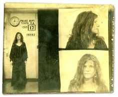 "On Nov. 16, 1969, Janis Joplin was playing a concert at Tampa, FL's Curtis Hixon Hall. After the show, Tampa police arrested her for 'vulgar and indecent language"". She was only behind bars for about an hour when her bail of $504.00 was paid. Here's here mug shot taken early morning on Nov. 17, 1969."