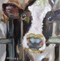 """Daily Paintworks - """"Cow 89LUNCH TIME"""" - Original Fine Art for Sale - © Jean Delaney"""