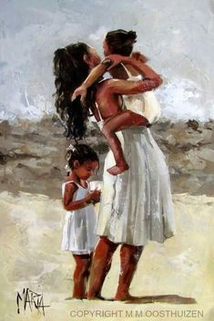 Original Fine Art Painting by Maria Magdalena Oosthuizen Black Girl Art, Black Women Art, Art Girl, Mother Daughter Art, Mother Art, Beautiful Drawings, Beautiful Paintings, The Beach, South African Artists