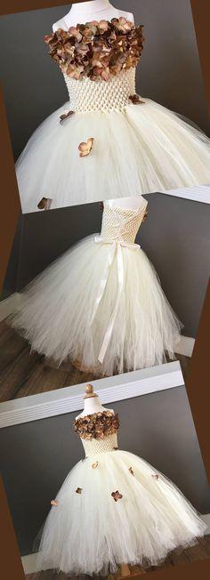 Ivory & Brown Flower Girl Dress, Hydrangea, Couture Winter Wedding, Tutu Tulle Dress, Girl Halloween Costume, Birthday, Junior Bridesmaid #affiliate #ad #weddings #weddingdresses #halloween #flowergirl #flowergirldress #tutu