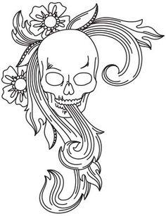 Skull Flourish design (UTH5016) from UrbanThreads.com