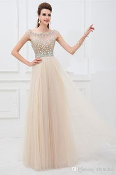 Wholesale Vestido Champagne Crystal V Back Cap Sleeve Long Tulle Girl Graduation Modest Prom Dresses E5199, Free shipping, $97.21/Piece | DHgate Mobile