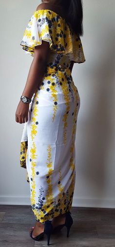 Meena Chiffon Off Shoulder Yellow, White and Blue Floral Fitted Contemporary Iro and Buba Set. This can be worn as a regular top over the shoulder, off the shoulder or sleeveless. Ankara   Dutch wax   Kente   Kitenge   Dashiki   African print dress   African fashion   African women dresses   African prints   Nigerian style   Ghanaian fashion   Senegal fashion   Kenya fashion   Nigerian fashion   Ankara crop top (affiliate)