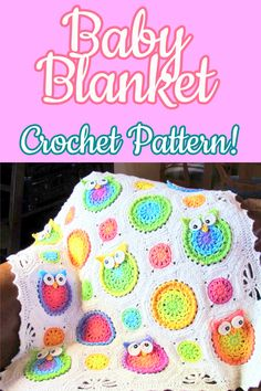This roundup of crochet baby blankets is a feast for the eyes! Do you need a baby shower present? Diy Yarn Blankets, Owl Baby Blankets, Crocheted Blankets, Owl Crochet Patterns, Owl Patterns, Crochet Baby Blanket Beginner, Baby Afghans, How To Purl Knit, Baby Owls