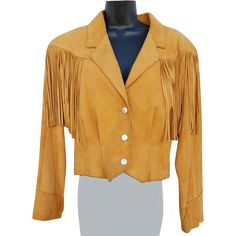 Women's Vintage 1980s suede leather with fringe jacket; Pioneer wear size Large. Offered at an introductory Sale Price for a short time. Bust 36,