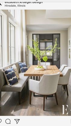 """""""This space is so beautiful and calming.des… """"This space is so beautiful and calming.design did a fabulous job Farmhouse Dining Chairs, Dining Nook, Dining Room Design, Dining Room Furniture, Dining Room Table, Furniture Design, Interior Design Kitchen, Interior Design Living Room, Dining Room Inspiration"""