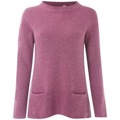 White Stuff Silver Fox Jumper, Prague Purple ($51) ❤ liked on Polyvore featuring tops, sweaters, moth sweaters, funnel neck sweater, purple jumper, fox jumper and white long sleeve top