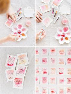 DIY Watercolor Escort Cards  Magnifiques réalisations d'Anna Maria...