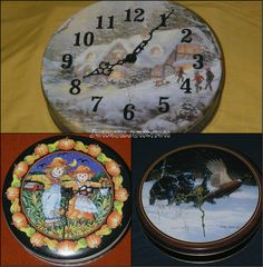 Closeout! PRICE reduced!  Tin can clock clock tin unique clock handmade by Jonquiljunction!!