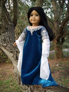 "Arwen Requiem Gown from ""Lord of the Rings: Return of the King"" Medieval/Renaissance Costume for American Girl/Journey Girls/Carpatina 18"" Dolls - by Morgan May @ Stardust Dolls - http://www.stardustdolls.com"