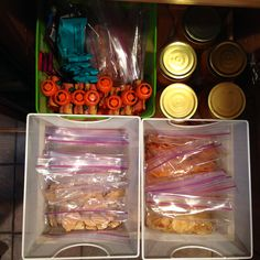 """I created an entire shelf in my pantry and refrigerator labeled """"lunches."""" I prepackaged all the items into separate baskets on Sunday night for the entire week. #Johnsonville #MorningHacks"""