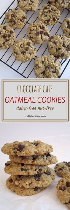 One of the best chocolate chip oatmeal cookies, chewy, crunchy and chocolatey #chocolatchipoatmealcookies #dairyfreecookies #oatmealcookies