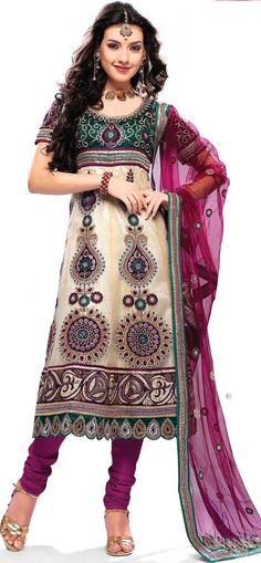 $88.42 Cream and Pink Net Full Sleeve Long Bridal Salwar Kameez 15881