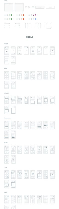 A highly polished collection of 300 mini wireframes to help you easily plan and map out all your web and mobile projects. This set includes 150 mini wireframes (screens) for web and 150 for mobile acr. Design Web, App Ui Design, Mobile App Design, User Interface Design, Mobile Ui, Dashboard Design, Graphic Design, Design Thinking, Web Layout