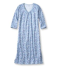 LLBean Supima Cotton Nightgown, 3/4 sleeve, Floral pattern