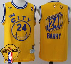 07033d32c04b7 Warriors #24 Rick Barry Gold Throwback The City The Finals Patch Stitched  NBA Jersey Cheap