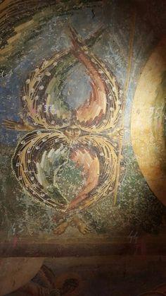 """Chiesa di San Giorgio a Kurbinovo costruita sotto Isacco II Angelo (1191) da un maestro formatosi probabilmente a Nerezi e poi attivo nel ciclo di Aghioi Anarghiroi a Kastoria. """" Manierismo Tardo-comneno """" Religious Icons, Religious Art, Order Of Angels, Fauvism Art, Seraph Angel, Art History Major, Church Interior, Byzantine Icons, Early Christian"""