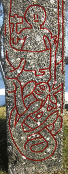 Thor and the Midgard Serpent from the Altuna runestone at Altuna church, Enköpings municipality, Uppland, Sweden. The carving shown the Old Norse god Thor getting the Midgard Serpent Jörmungandr on the hook, and aiming with his hammer Mjolnir to slay the Midgard Serpent. Photo and Photoshoping by Achird.