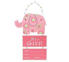 It's A Girl Pink Wooden Elephant Wall Hanging