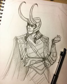 "8,706 Likes, 106 Comments - Brianna Garcia (@briannacherrygarcia) on Instagram: ""Doodled Loki at Disneyland! Hopefully he approved. #disneyland #loki #thorragnarok #sketch"""