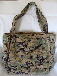 Daddy would love this!  Marine Camo Diaper bag!