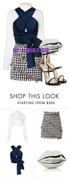 """Untitled #2400"" by briarhoney ❤ liked on Polyvore featuring Balmain, MSGM, Jessica Choay, Lulu Guinness and Giuseppe Zanotti"
