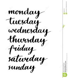 Handwritten Days Of The Week. Black Ink - Download From Over 37 Million High Quality Stock Photos, Images, Vectors. Sign up for FREE today. Image: 58816170