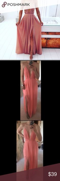 NWOT Chiffon Pink-Coral Maxi Dress Never Worn Maxi, open back with tie straps, slit up the side. Pink-Coral. Perfect for date night or a summer wedding! I am a size medium - this is a large and there is extra room 💗 Purchased from a great fellow Poshers shop - but I have to wear flats for the event and this dress demands a sexy heel 🙌 Dresses Maxi