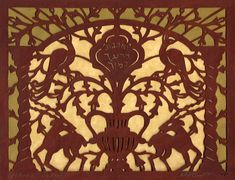 """""""Tree of Life New Year Card"""" original handcut paper by Yehudit Shadur available at the R. New Year Card, Tree Of Life, Paper Cutting, Galleries, Folk Art, Aesthetics, Symbols, Artist, Room"""