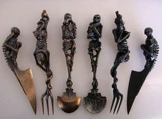 Skeletal demon skeleton silverware for the creepy home Goth Home Decor, Gypsy Decor, Gothic Furniture, Dark Furniture, Gothic House, Gothic Mansion, 3d Prints, Dutch Artists, Skull And Bones