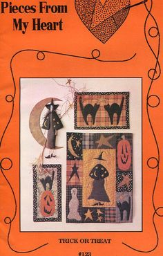 Free Usa Ship Craft Sewing Pattern Pieces From My Heart TRICK OR TREAT Halloween Holiday Quilt 1992 Witch Black Cat Pumpkin by LanetzLivingPatterns on Etsy