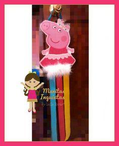 Porta moños Peppa Pig Manitas Inquietas https://m.facebook.com/MisManitasInquietas